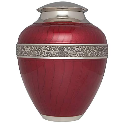 Red Cremation Urn by Liliane - Urns for Human Ashes Remains - Brass - Suitable for Funeral Cemetery Burial or Niche - Large Size fits Remains of Adults up to 200 lbs - Hand Enameled - Tuscan