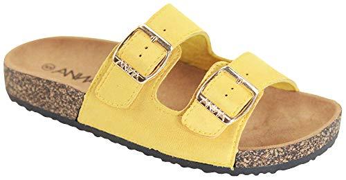 ANNA Footwear Women's Casual Buckle Straps Sandals Flip Flop Platform Footbed (10, Mustard Yellow Suede)