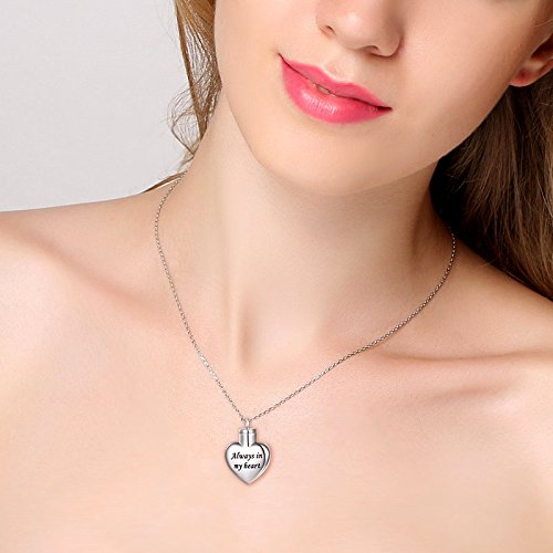 Cremation Jewelry Sterling Silver Always in My Heart Urn Necklace Ashes Keepsake Pendant Necklace, 20'' (with 18'' Chain) by SILVER MOUNTAIN (Image #2)
