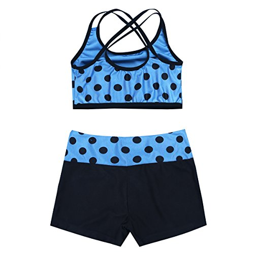 MSemis Girls' Kids 2-Piece Active Set Dance Sport Outfits Racer Back Top and Booty Short Gymnastics Dancing Clothes Blue Polka Dots 3-4