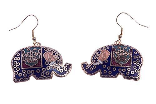 Shag Wear Women's Vintage Art Deco Nature Inspired Cloisonne Earrings Blue Elephant