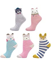 Calcetines de Algodón para Niñas Novedad Diseños Calcetines, Animalitos estampados con orejitas en relieve, 2-11 Años, Pack de 5 Pares