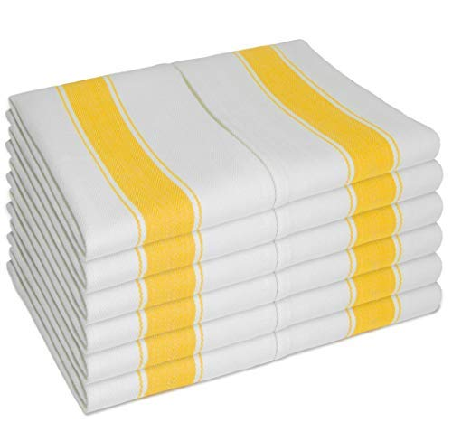 SMARTZ 12 Pack Cotton Kitchen Towels with Hanging Loop; Large 70x50 Centimeter Traditional White in Herringbone Weave with Yellow Stripe