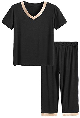 Latuza Women's Sleepwear Tops with Capri Pants Pajama Sets XL Black (Fine Bedroom Sets)