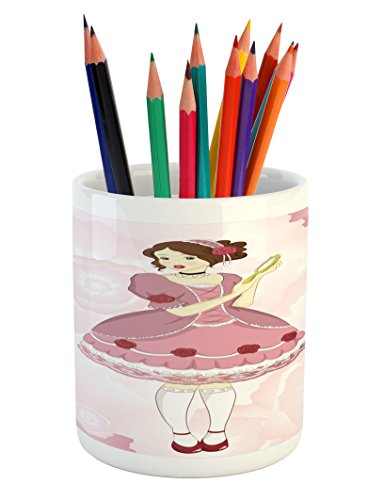 Lunarable Vintage Pencil Pen Holder, Girl in a Victorian Dress Holding a Mirror on Pastel Colored Background with Roses, Printed Ceramic Pencil Pen Holder for Desk Office Accessory, Multicolor by Lunarable