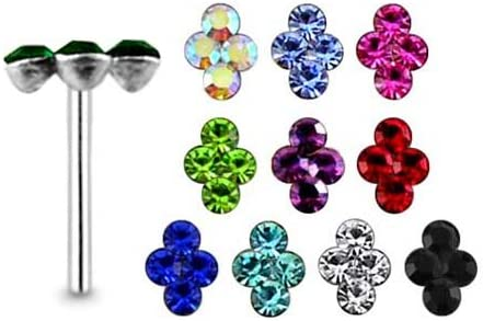 5 Pieces Mix Color Diamond Shape 4 Stone Sterling Silver 22 Gauge Straight Nose Pin