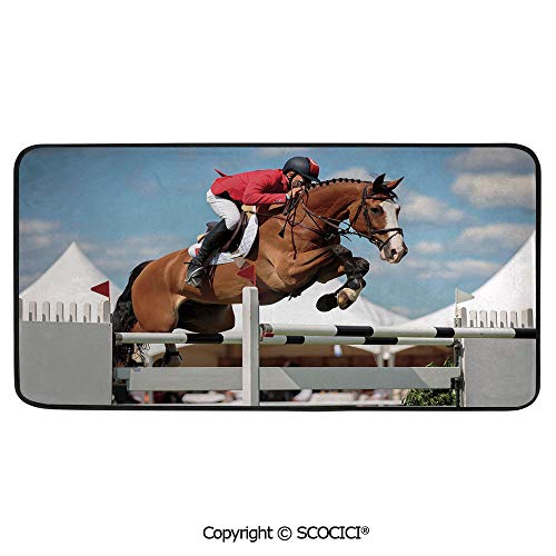 Rectangular Area Rug Super Soft Living Room Bedroom Carpet Rectangle Mat, Black Edging, Washable,Horse Decor,Jumping Horse and Sportsman Race Competition Performance,39