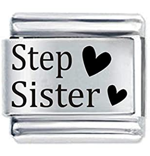 Daisy Charm Step Sister Heart ETCHED Italian Charm - Fits Nomination  Classic Bracelets 876c05dfc