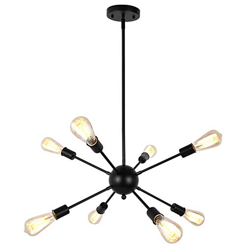 Lampundit Sputnik Chandelier 8 Light Modern Pendant Lighting Industrial Vintage Ceiling Light Fixture UL Listed - Black