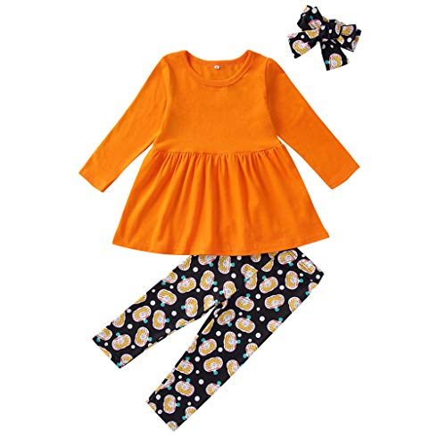 Toddler Girl Fall Winter Outfit 3 Pcs,Crytech Long Sleeve Solid Color Pumpkin Print Aline Dress Cartoon Striped Pants with Headband for Baby Kids Casual Halloween Costume (18-24 Months, Orange)