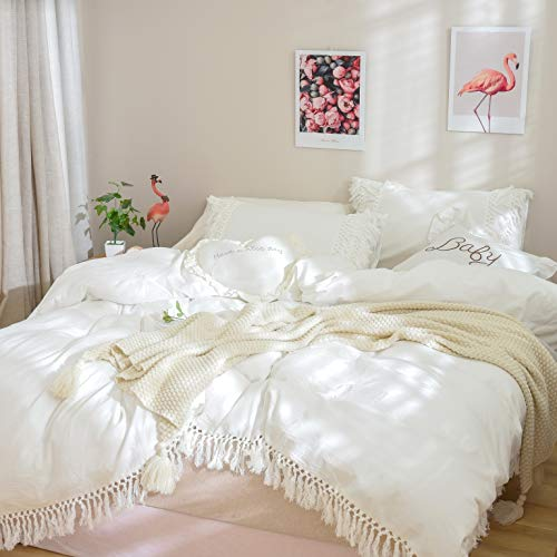 Softta Boho Bedding Tassel Duvet Cover Fringed Twin 3 Pcs 100% Washed Cotton Vintage and Elegant Ruffle Duvet Covers White