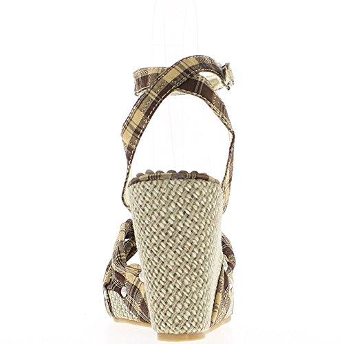 Sandales compensées femme marron et or talon 9.5cm gumkTjZ8N