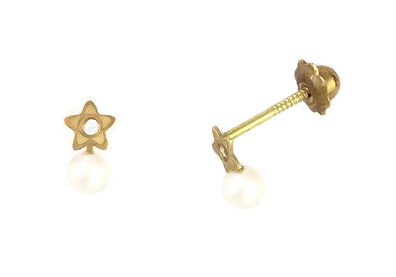e15734054196 Pendientes de bebé de oro de 18 Klts M.A-PEN-12 (Perlas y Estrella ...