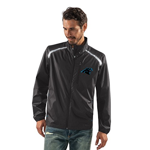 G-III Sports NFL Carolina Panthers Men's Storm Full Zip Packable Jacket, XX-Large, Black from G-III Sports
