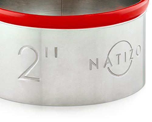 Natizo 12 Piece Round Stainless Steel Cookie Cutter Set - Size On Every Cutter - Silicone Tops by Natizo (Image #3)