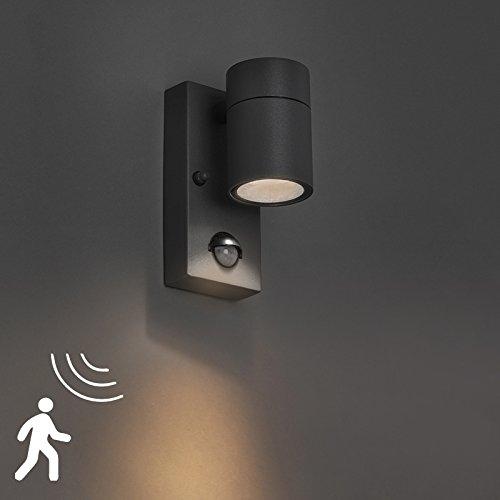 QAZQA Moderno Aplique exterior sensor de movimiento de acero ...
