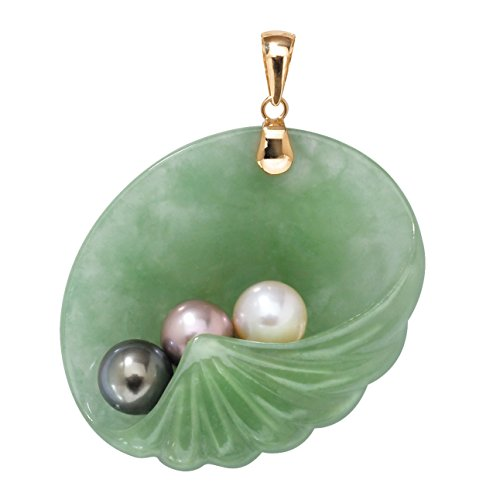 (14K Yellow Gold Genuine Pearls and Jade Shell Charm Pendant )