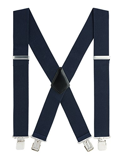 Suspenders for Men Heavy Duty, 2 Inch Wide X-Back Adjustable Elastic Clip Suspenders (Navy Blue)