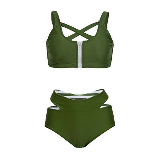 Women's Sexy Push Up High Waisted Padded 2 piece Bikini Set Swimsuits Army Green