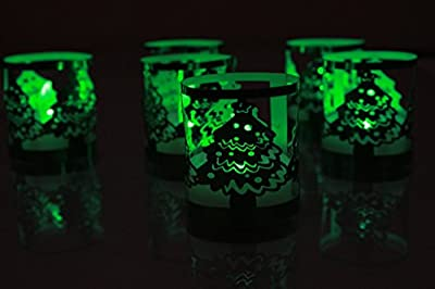 TBW Flameless Tea Lights Votive Candles with TEA Light Christmas Tree Wraps - Green Flickering Tealight LED Candles Battery Powered LED Lights