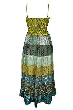 7a1506cdac Freya Womens Silk Dress Strappy Pathcwork Upcycled Smocked Bodic Holiday  Beach Party Sundress S M (Green)  Amazon.co.uk  Clothing