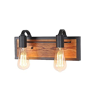 LNC 3-Light Rustic Wall Lighting Black Wall Lamps Wood Wall Sconces Vanity Lights