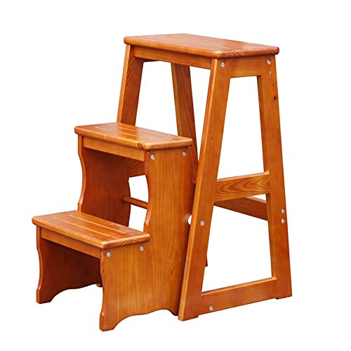 PENGFEI Stepstools Folding Ladder Stools Stairs Solid Wood 3 Step Home Multifunction Intended Shoe Bench Flower Stand, 4 Colors Building Supplies (Color : Teak Color, Size : 28.3x47x64CM)