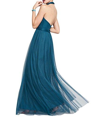 Abendkleider Damen Dunkel mia La Ballkleider Rot Brautjungfernkleider Partykleider Neckholder Brau Linie A Tuell Lang vAvwYpxg