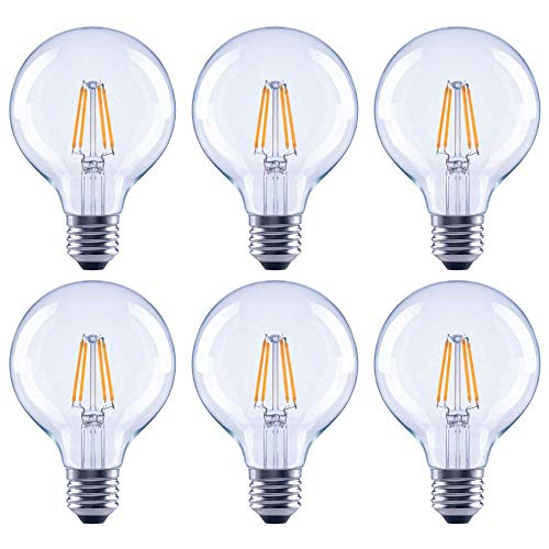 Asencia AN-03682 60 Watt Equivalent G25 Globe Clear All Glass Vintage Filament Dimmable LED Light Bulb, Soft White, 6-Pack, 60w Clear Globe Bulb