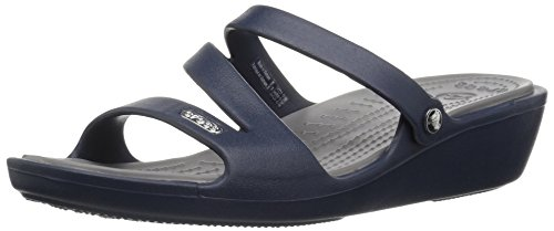 Crocs Women's Patricia Wedge Sandal, Navy/Smoke, 7 M US