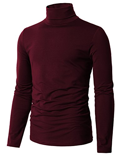 H2H Mens Hipster Casual Slim Fit Long Sleeve Button Down Dress Shirts Tops with Embroidery Wine US M/Asia L (CMTTL098) ()