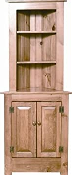 Farmhouse Corner Hutch in Pine Wood (Primitive Paint- English Red)