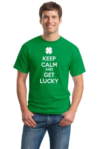 KEEP CALM AND GET LUCKY Unisex T-shirt / Funny St. Pat's Day Irish Humor