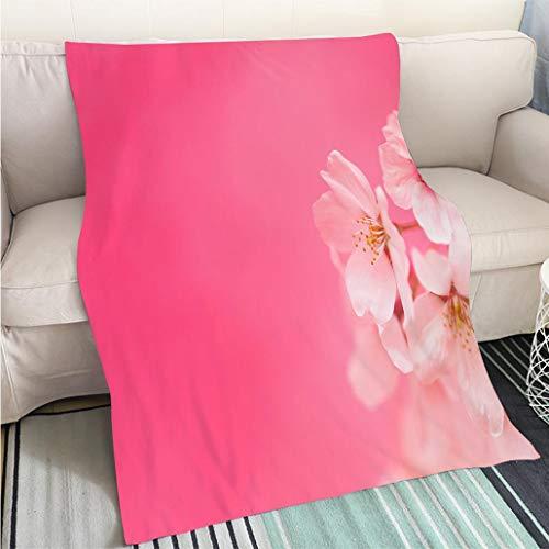BEICICI Super Soft Flannel Thicken Blanket Cherry Blossoms Against Pink Background Fashion Ultra Cozy Flannel Blanket ()