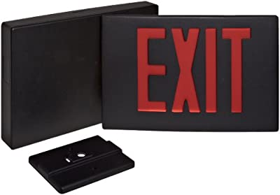 Morris Products 73344 Cast Aluminum LED Exit Sign, Red Letter Color, Black Face Color, Black Housing Finish