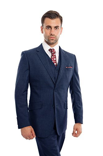 Blue 2 Wool Suit - ZeGarie Mens Suit 2-Piece Textured Wool Modern Fit Tuxedo Suits