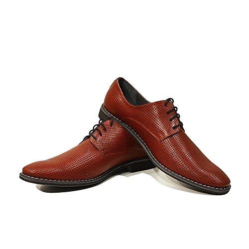 PeppeShoes Modello domenico - Handmade Italiennes Cuir Pour des Hommes Rouge Chaussures Oxfords - Cuir de Vachette Cuir Gaufré - Lacer