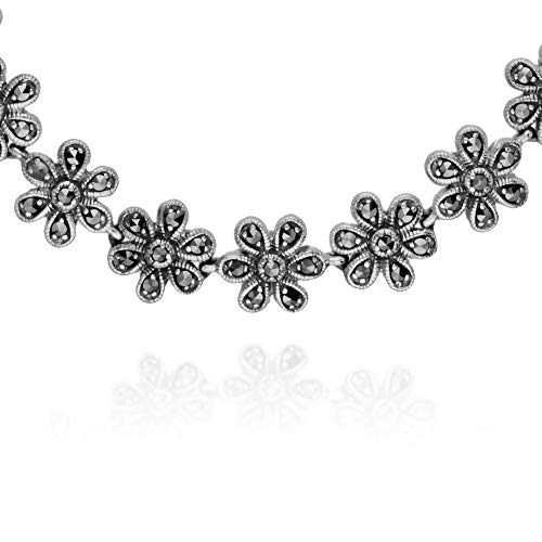 Gemondo 925 Sterling Silver Marcasite Flower Bracelet