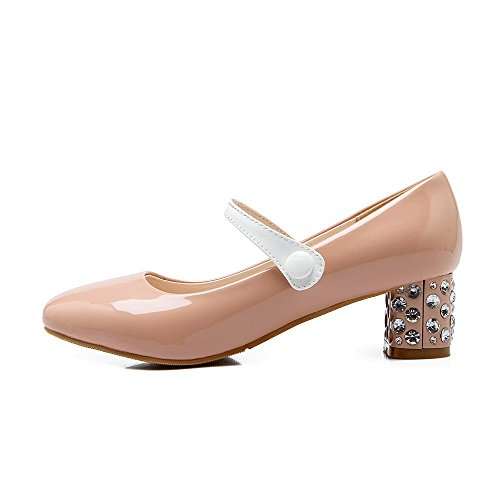 On Leather Pull Kitten Patent Women's Pink Pumps WeiPoot Square Closed Shoes Toe Heels HqCBAxw