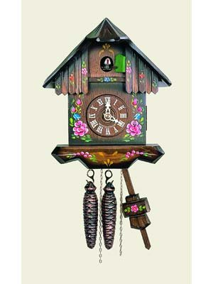 Original One Day Movement Cuckoo Clock with Hand Painted Flowers and Wooden Dial 10 Inch