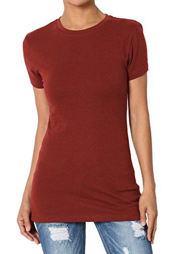 TheMogan Women's Basic Crew Neck Short Sleeve T-Shirts Cotton Tee Dark Rust (Top Rust Charcoal)