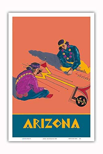 - Arizona - Hopi Indians Sand Painting - Santa Fe Railroad - Vintage Railroad Travel Poster c.1940s - Master Art Print - 12in x 18in ()