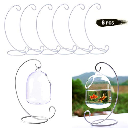 Set of 6 Christmas Ornament Display Stands Holder Hooks Hanging Lantern Candle Glass Bauble Sphere Tree Plant Light Candle Easter Egg Ball Wedding Decoration 9' ()
