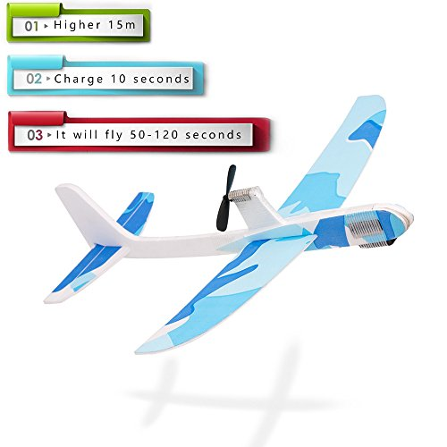 Yansion Upgraded Paper Foam Airplane Super Capacitor Electric Hand Throwing Free-Flying Glider DIY Airplane Model Education Toys ()