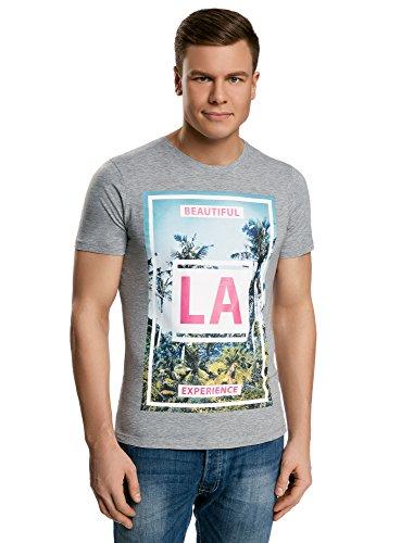 Uomo shirt Cotone 2341p In Grigio Oodji Stampa Con Ultra T Estiva fqW15