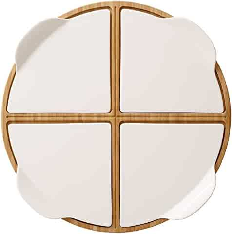 Pizza Passion 5 Piece Pizzia Set by Villeroy & Boch - Premium Porcelain - Made in Germany - Dishwasher and Microwave Safe Plates - 14 Inches