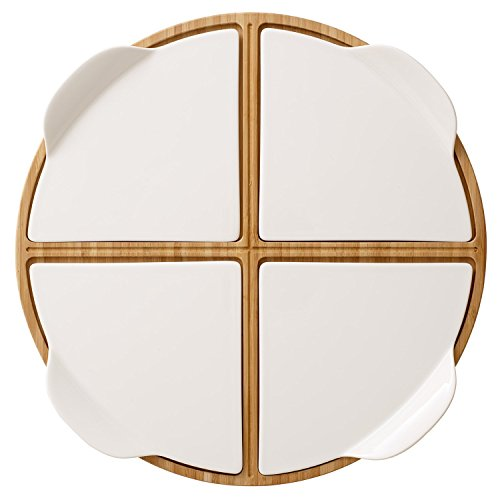 Pizza Passion 5 Piece Pizzia Set by Villeroy & Boch - Premium Porcelain - Made in Germany - Dishwasher and Microwave Safe Plates - 14 Inches ()