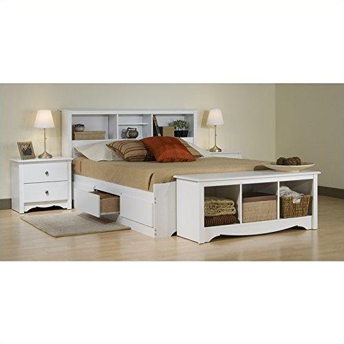 (Prepac Monterey White Full Wood Platform Storage Bed 4 Piece Bedroom Set)