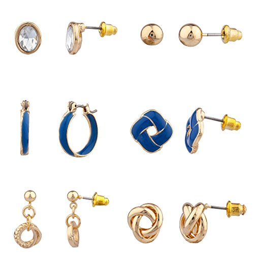[Lux Accessories Love Knot Nautical Earring Set (6Pc)] (Ladies Ring Leader Costume)