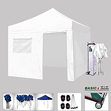 New Eurmax Basic 10x10 Ez Pop Up Canopy Outdoor canopy Instant Tent Package deal+4 zipper end Walls+ Roller Bag,Bonus Ground Mat (White)